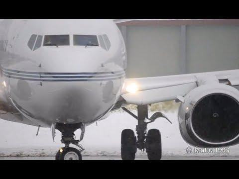 BBJ Boeing 737-79T takes off in snowy Berne HD