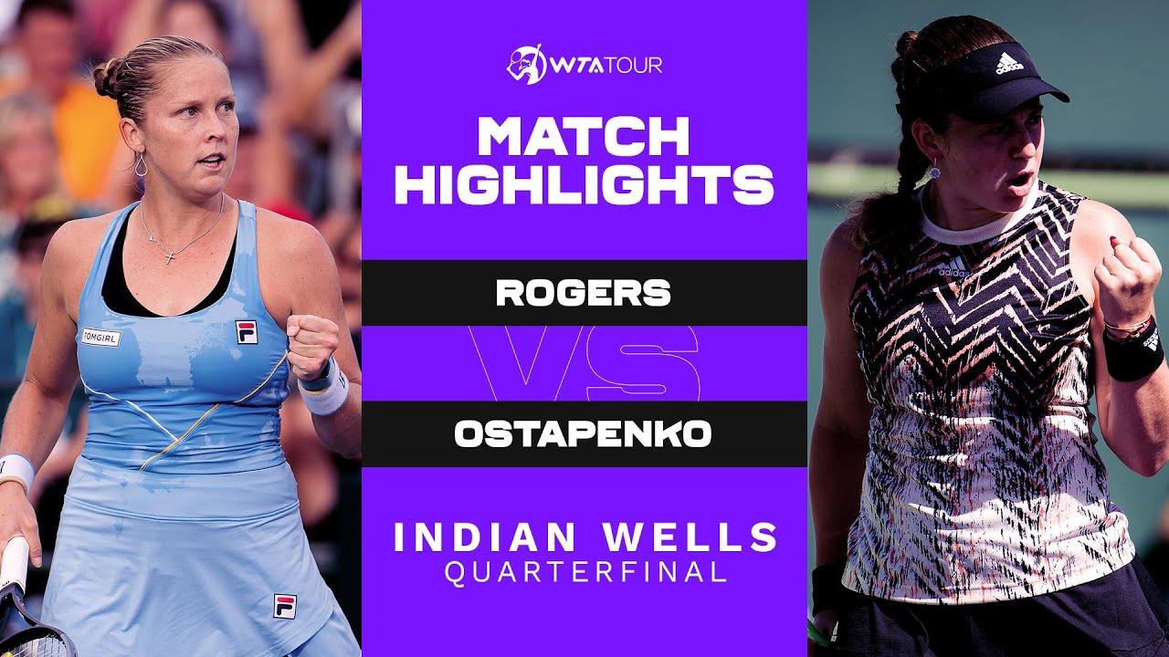 Download Shelby Rogers vs. Jelena Ostapenko | 2021 Indian Wells Quarterfinal | WTA Match Highlights