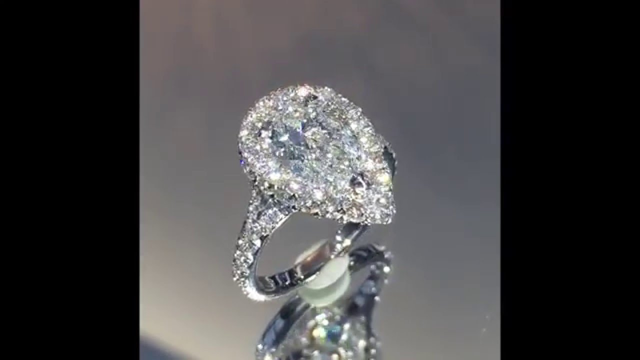 2 carat pear diamond halo engagement ring rs204 youtube