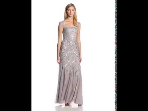 Adrianna Papell Women's Cap Sleeve Beaded Gown with Envelope Back