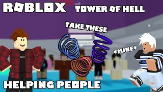 Roblox Helping People in Tower Of Hell to get their First Win?