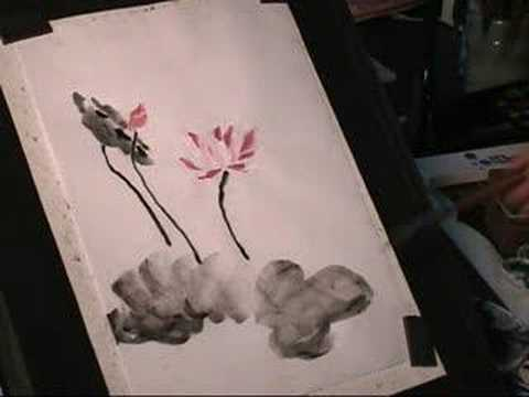 How To Draw Lotus Flower Sumi E Chinese Painting 2 Youtube