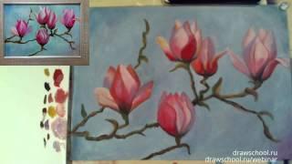 Как нарисовать цветы яблони красками (масло, акрил, гуашь)(Нарисовать ветку с цветами яблони не составит труда, если вы рисуете по нашим пошаговым видео-урокам. В..., 2016-03-09T08:05:46.000Z)