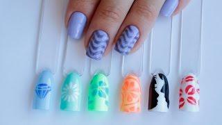 Дизайн ногтей гель-лаком с помощью трафаретов Leafnails