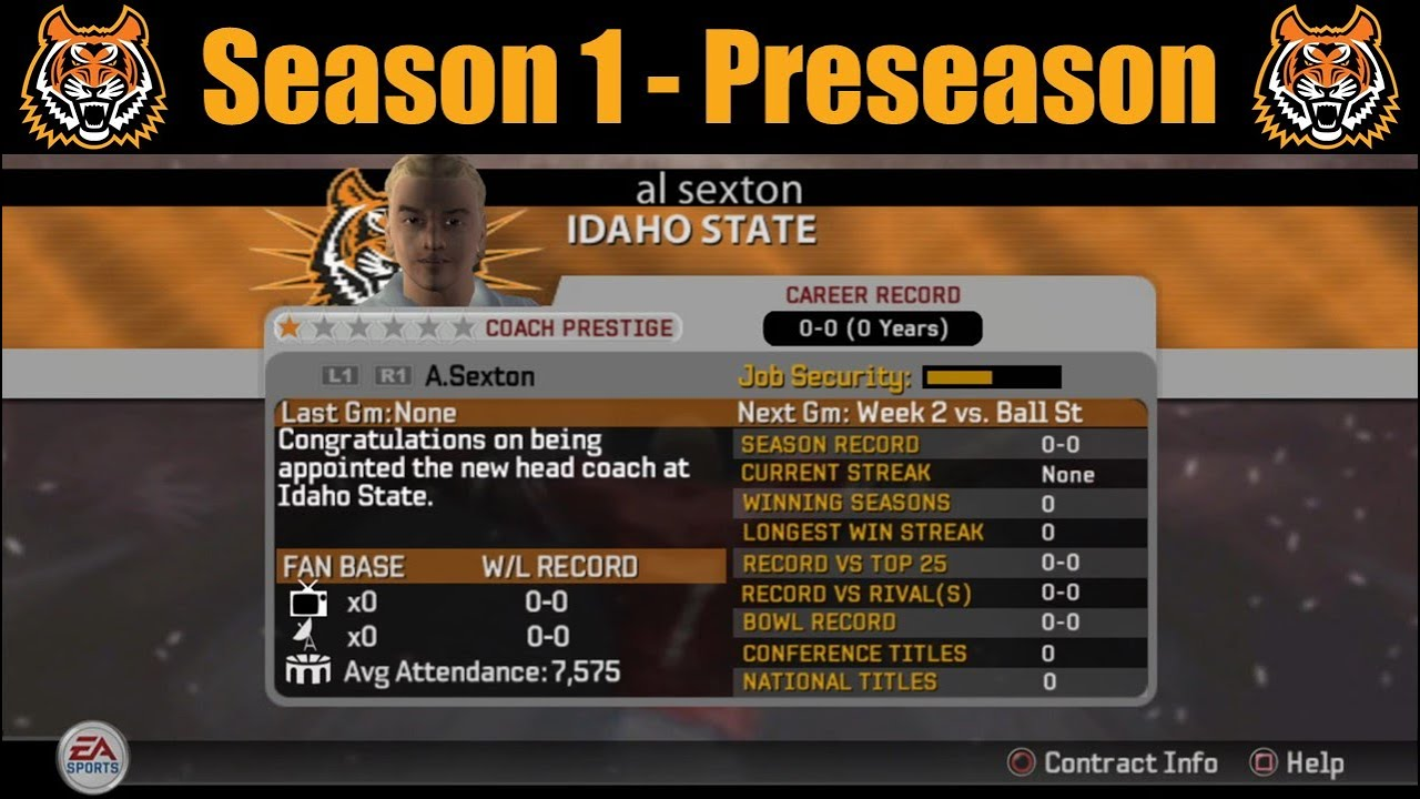 Idaho State - Season 1 Preseason - NCAA Football 06 Dynasty - PCSX2