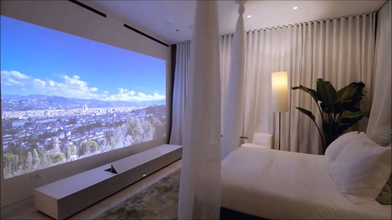 projector in bedroom.  Sony 4K Ultra Short Throw Projector non official video YouTube
