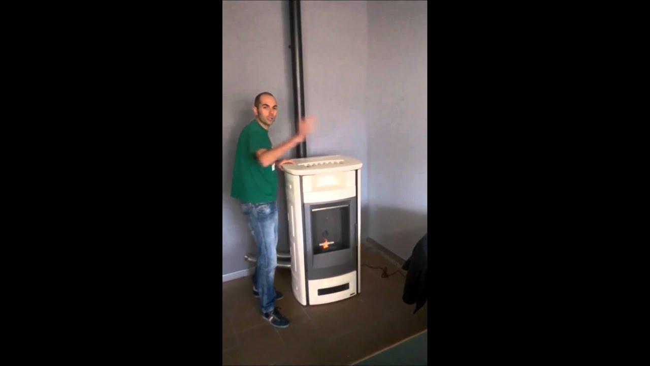 Stufa pellet piazzetta p963c ottoni fuoco youtube for Telecomando piazzetta