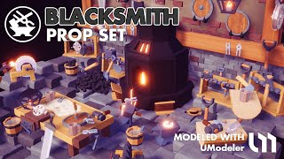 The Blacksmith modeled with UModeler in Unity.