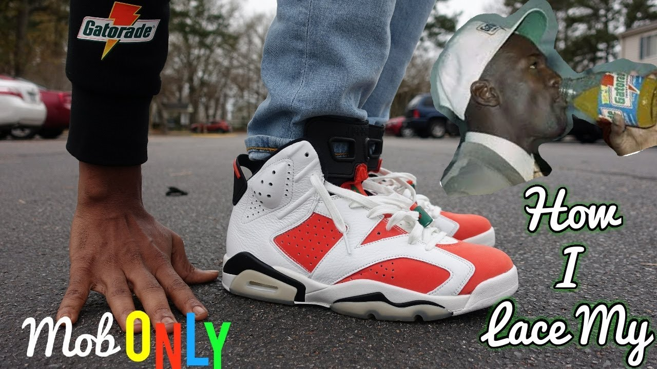 335f4d0a8083 How I lace My Gatorade Air Jordan 6   4k On foot look - YouTube