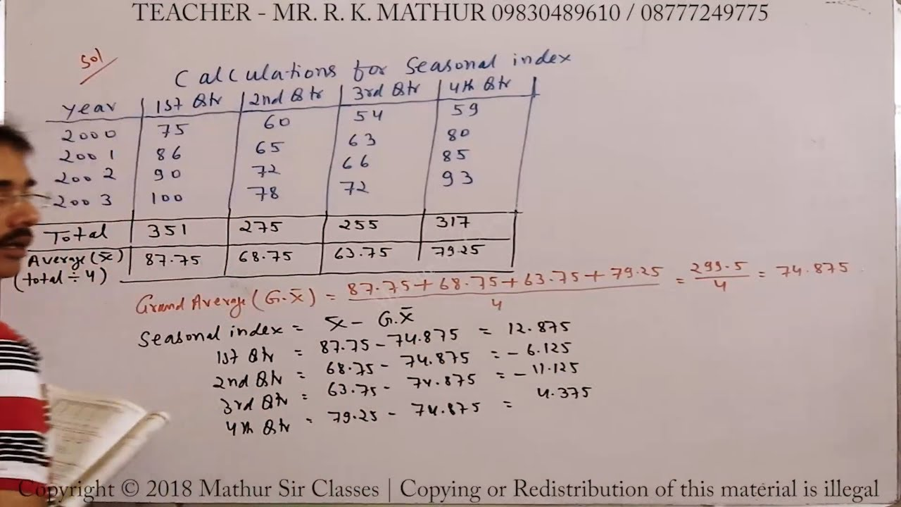 Calculation of Seasonal Index solved sums 20   Statistics   Mathematics    Mathur Sir Classes