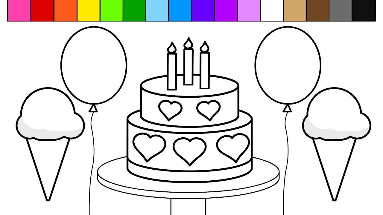 Learn Colors And Color Rainbow Ice Cream Birthday Cake Balloon Coloring Pages For Kids
