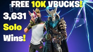 10K Vbucks Giveaway - 3631 Solo Wins! FORTNITE LIVE STREAM