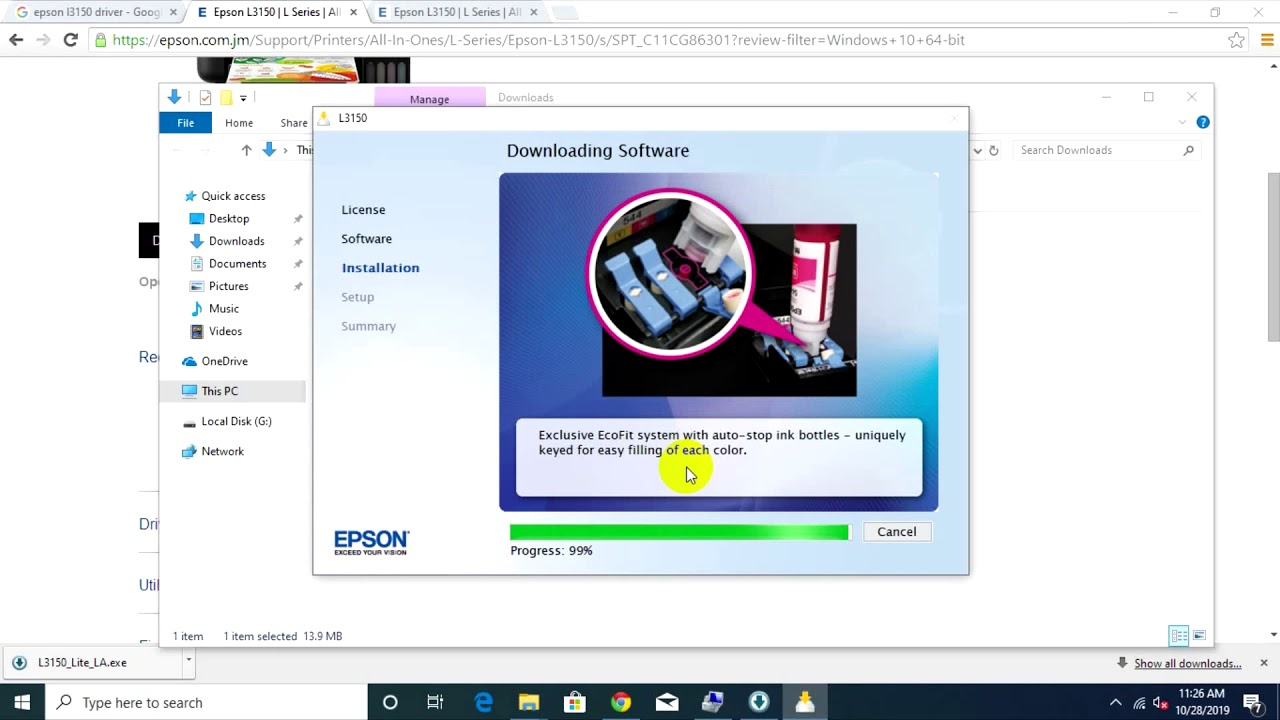 How To Install Driver Printer Epson L3150 Youtube
