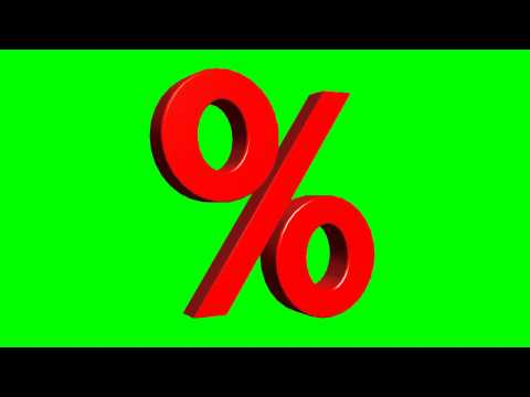 percent sign rotates 3D - green screen effects  (other colors available) - free use