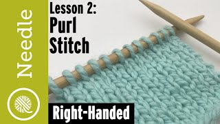 How To Knit - Purl Stitch For Stockinette   Lesson 2