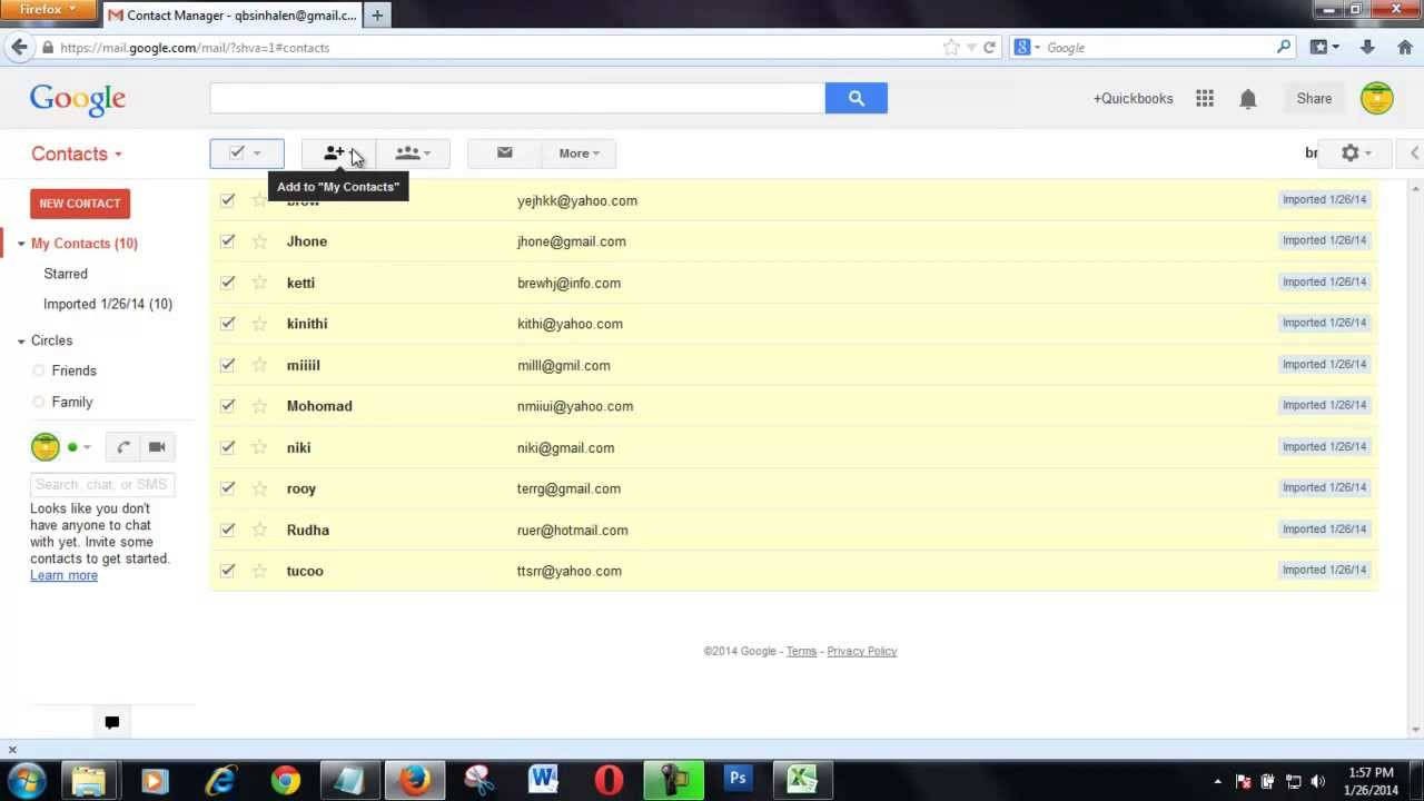 how to import contacts from excel sheet to gmail