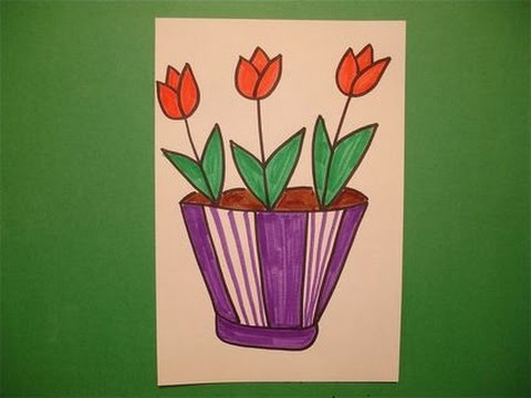 Lets draw a flower pot youtube