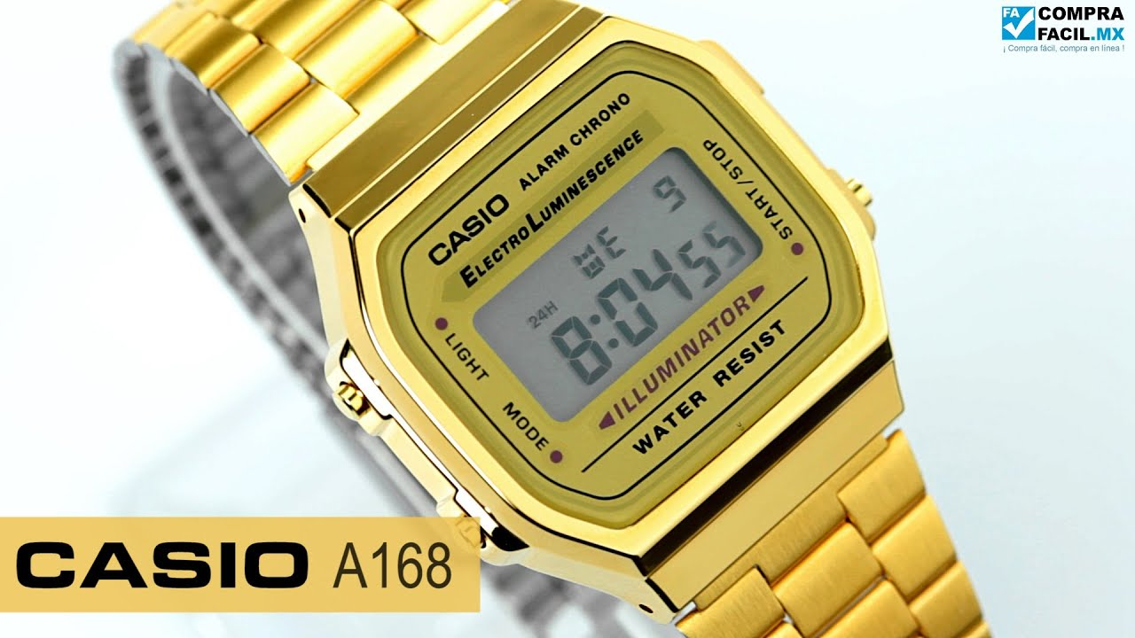 cd89e0e42cc1 Reloj Casio Retro Vintage A168 Dorado - www.CompraFacil.mx - YouTube