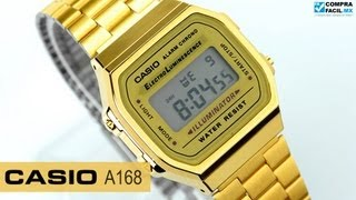 Reloj Casio Retro Vintage A168 Dorado - www.CompraFacil.mx