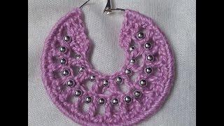 Brinco de croche com bolinhas passo à passo / Crochet earrings hoops with beads tutorial