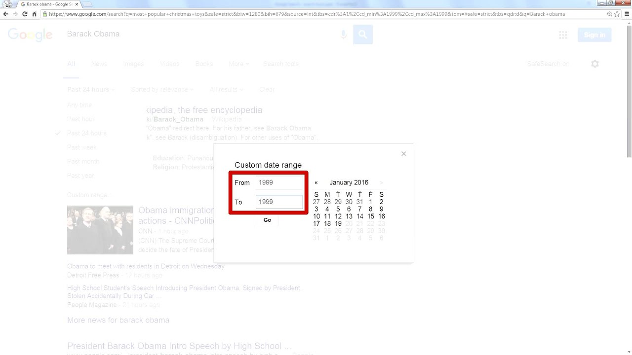 Google Search Tools - Date Range