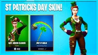 New *RARE* Sgt Green Clover Skin Returning To Fortnite! St Patrick's Day Skin Gameplay!
