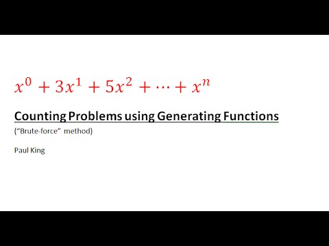 Counting Problems Using Generating Functions (Brute Force Method)