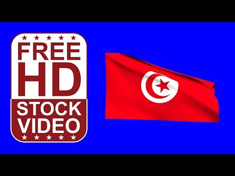 FREE HD video backgrounds – Tunisia flag waving on blue screen 3D animation