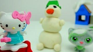 Поделки для детей. Кити и Тося делают снеговика