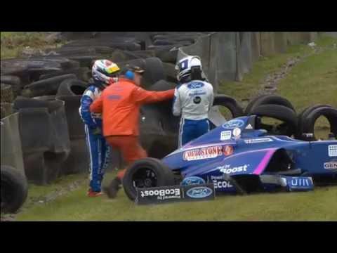 F4 British Championship 2016. Race 2 Knockhill. Devlin DeFrancesco & Petru Florescu Hard Crash