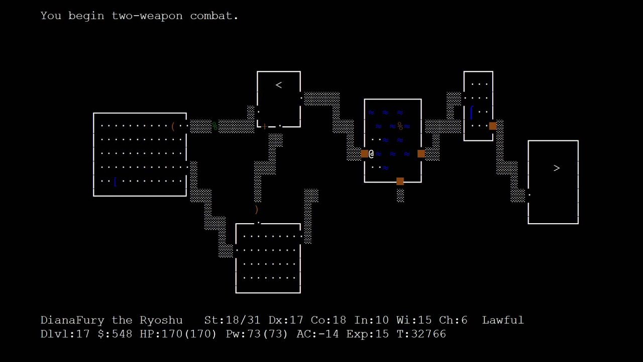 Nethack screen saver - YouTube