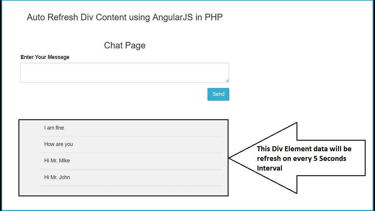 Auto Refresh Div Content using AngularJS in PHP