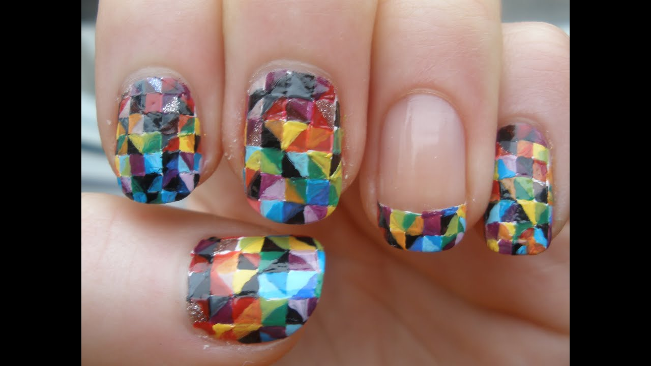 colorful kaleidoscope nail art