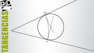 Circunferencia tangente a los lados de un ángulo, dado un punto de tangencia.