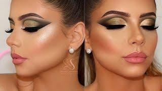 Gold & Olive Green Cut Crease Makeup + Perfect Skin Highlight & Contour + Baking | Melissa Samways