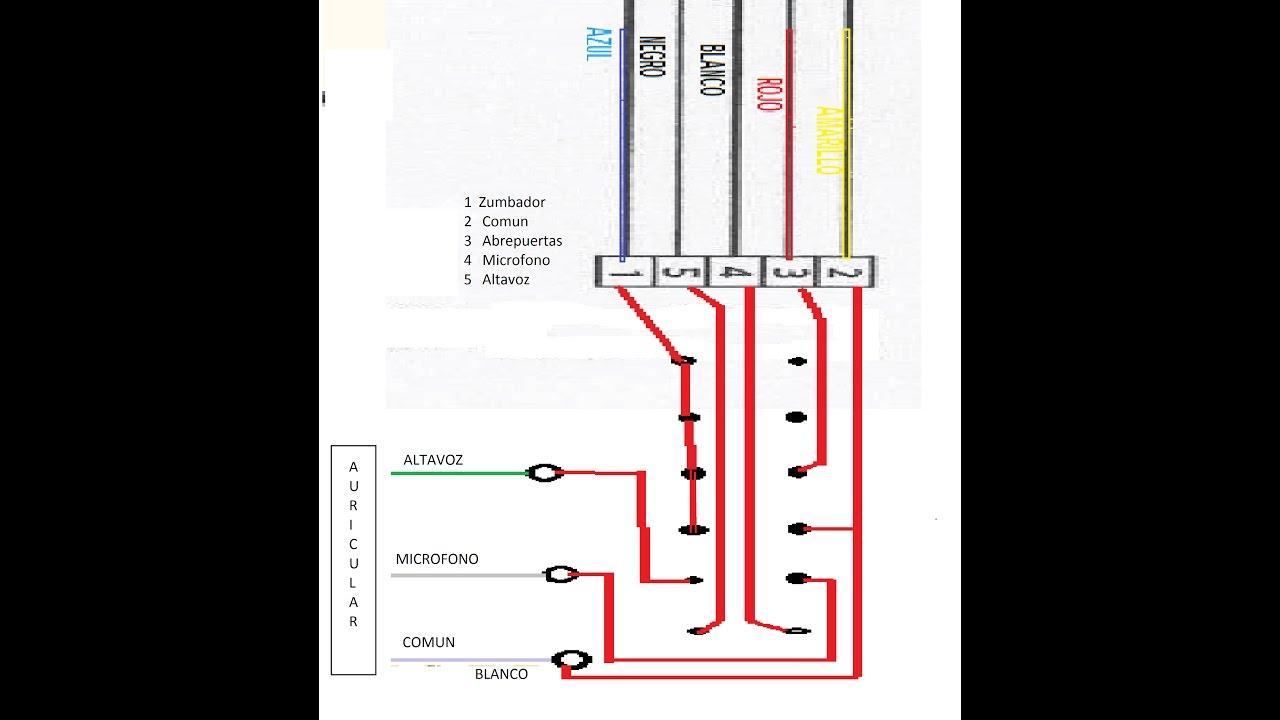 Telefonillo portero pulsador supletorio youtube for Cables telefonillo colores