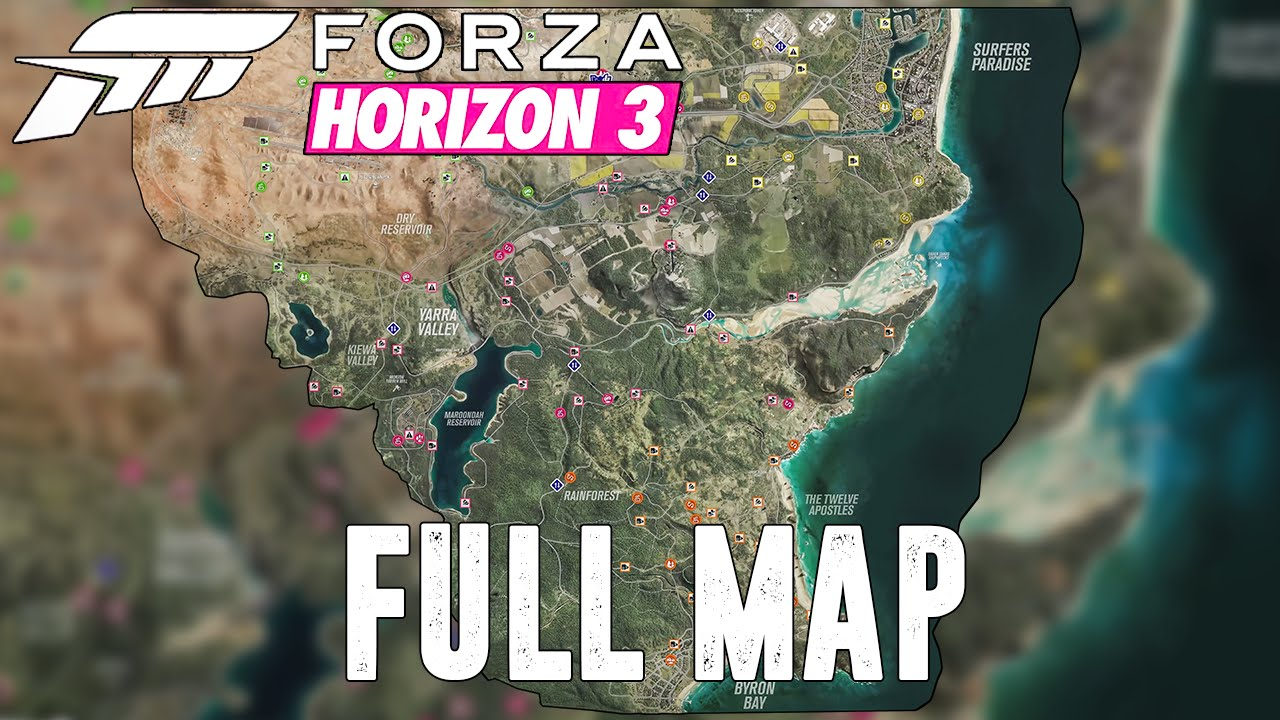 carte forza horizon 3 Forza Horizon 3: FULL MAP REVEALED   YouTube