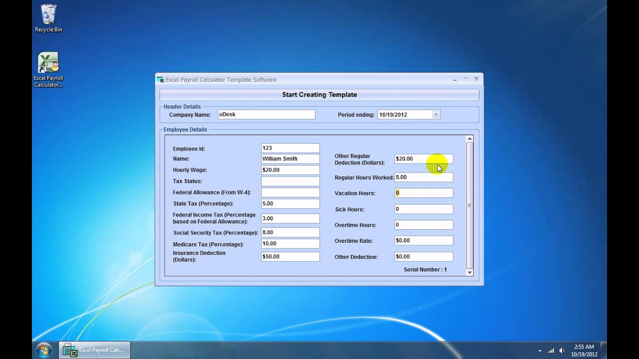 Excel Payroll Calculator Template Sample Document Resumes