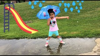 Sally pretend play at the playground in rainy day!! Kidsfun video