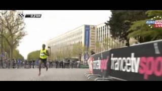 Bekele , zancada ultimo km Marathon París 2014