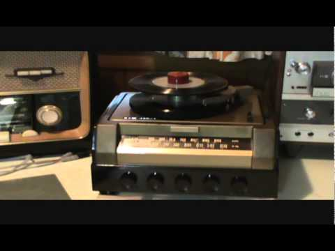My RCA Victor 45 rpm player playing a program of Glenn Miller 45 rpm records