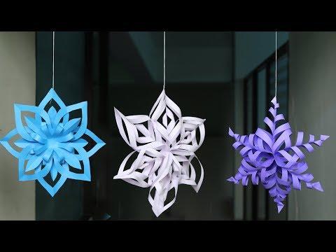 DIY 3D Snowflake Making Tutorial - DIY Crafts