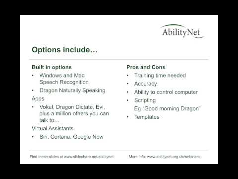 How to Control Your Computer with Your Voice April 2015 - AbilityNet workplace webinar recording