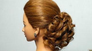 Romantic hairstyle for long medium hair. Curly bun