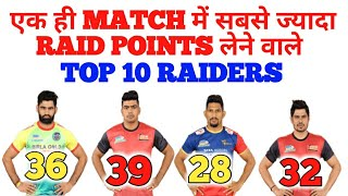 TOP 10 RAIDERS WHO SCORE MOST RAID POINTS IN A SINGLE MATCH