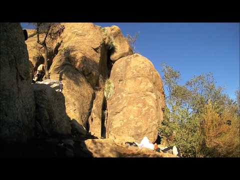 "Sport Rock Climbing in Santiago, Chile. ""Piedra Rajada"" crag, great panoramic"