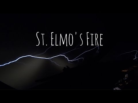 A weather phenomenon called St. Elmo's Fire as seen form the cockpit.