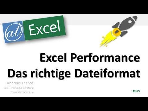 Den passenden Dateityp wählen - Excel Performance