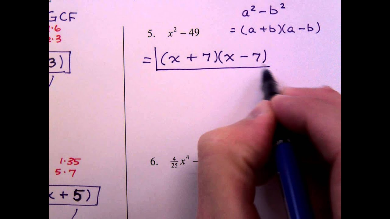Algebra homework help factorization
