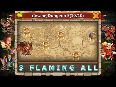 Castle Clash 3 Flaming All Insane Dungeon 5 Without Mino Mage